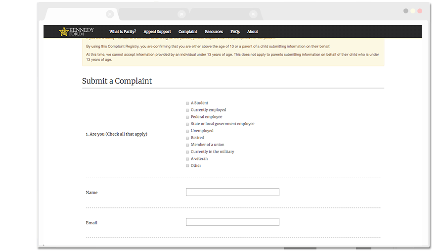 ParityRegistry Complaint Form